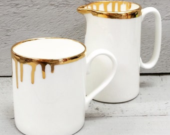 22ct gold drip bone china mug