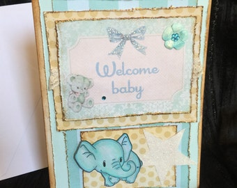 Baby boy shower with elephant card handmade