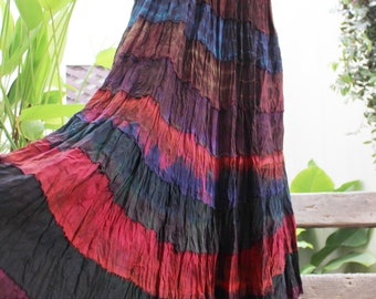 ARIEL on Earth - Boho Gypsy Long Tiered Ruffle Patchwork Tie Dyed Cotton Skirt - TD1507-2