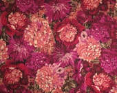 Shades of Berry Red Allover Floral Print Stretch Cotton Brushed Sateen Fabric--One Yard