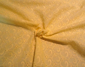 Yellow Allover Swirl Design Pure Cotton Embroidered Eyelet Fabric--One Yard