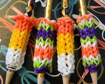 4 Removable Rainbow Loom Halloween Pencil Grips with Pencils - Gold, Candy Corn, and Pumpkins