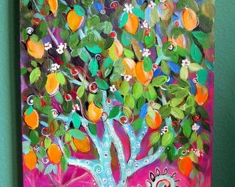 Abstract Lemon Tree Original Landscape painting canvas art 16 x 40 Art by Elaine Cory