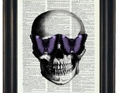 BOGO SALE Skull With Purple Butterfly Glasses Art Prints with HHP Original Design Wall Decor Steampunk Art Print Dictionary Prints