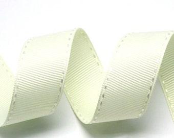 Cream/White Grosgrain Stitch Ribbon - 5mm(2/8''), 10mm(3/8''), 15mm(5/8''), and 25mm(1'')