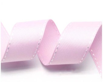 5Yards Light Pink/White Grosgrain Stitch Ribbon - 5mm(2/8''), 10mm(3/8''), 15mm(5/8''), and 25mm(1'')