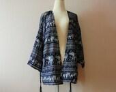 Navy Elephant kimono,Oversize kimono jacket,kimono cardigan,Summer kimono,Women's Fashion Kimono,Shawl,Boho Clothing,hip length kimono