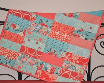 Blanket home decor Modern baby Quilt in Turquoise and Tomato Red Squares - Crib quilt - patchwork - tomato red and blue