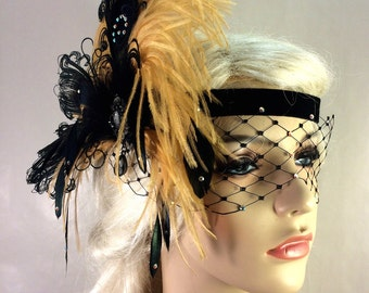 Art Deco Flapper Headband, The Great Gatsby, 1920s Headpiece, 1920s Flapper, Gold and Black, Swarovski Crystal Mask