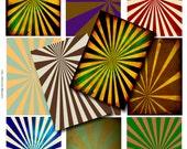 ATC collage Sheet, Retro Digital Sunburst atc Backgrounds, Sun Rays ATC Backgrounds, ATC Download