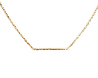 "ELEMENTS II - Gold plated hammered simple necklace ""Horizon"" (EHC01)"