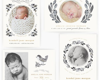 Timeless Foliage Birth Announcement Cards (INSTANT DOWNLOAD)