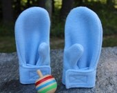 Powder Blue Fleece Mittens | Stay On  Mittens | Baby or Toddler Sizes | Winter Mittens | Children Mittens | Made in America