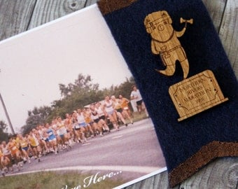 TRACK Vintage Sports Trophy Wearable Art Pin by Winnifreds Daughter