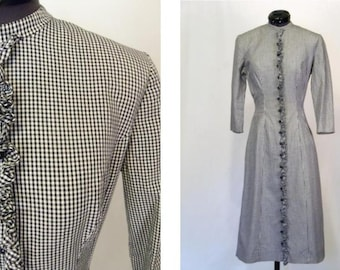 Vintage 50's 60's Dress Black and White Gingham Checked with Ruffle and Buttons Size XS