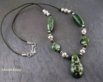 African Kazuri Green Burber Necklace