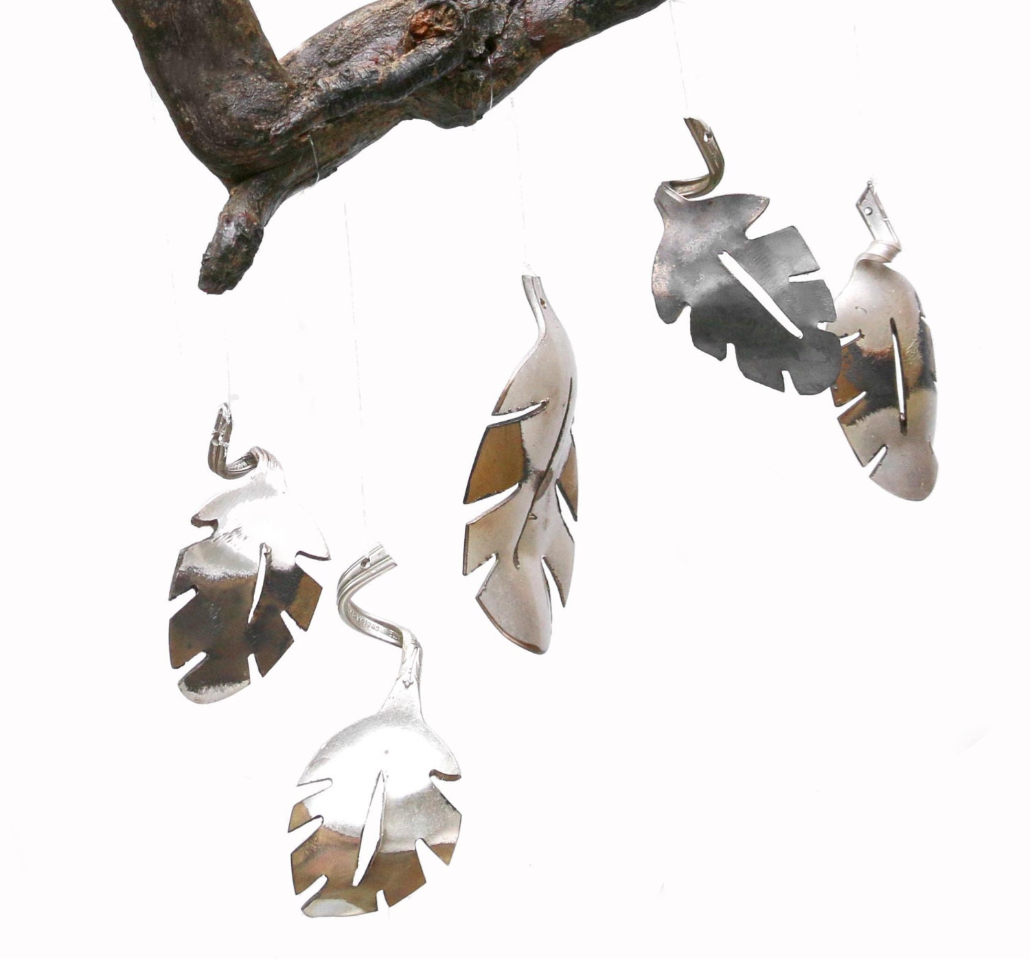 Metal Leaves Wall Decor handmade silverware wind chime leaf wall art gold metal wall