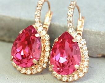 Pink Earrings,Pink Swarovski Drop Earrings,Pink SwarovskI Crystal Earrings,Teardrop Dangle Earrings,Bridesmaids Pink Earrings,Bridal Jewelry