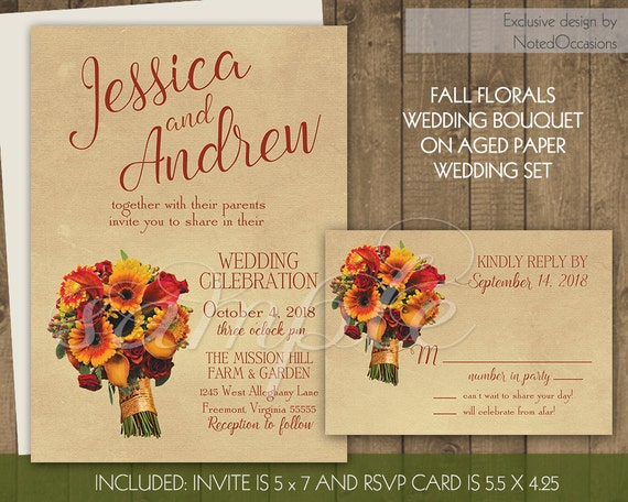 Rustic Fall Wedding Invitations: Fall Wedding Invitations Rustic Autumn Florals By