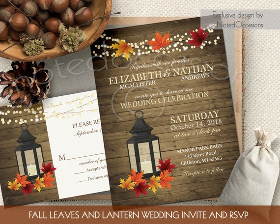 rustic fall wedding invitations set metal by notedoccasions
