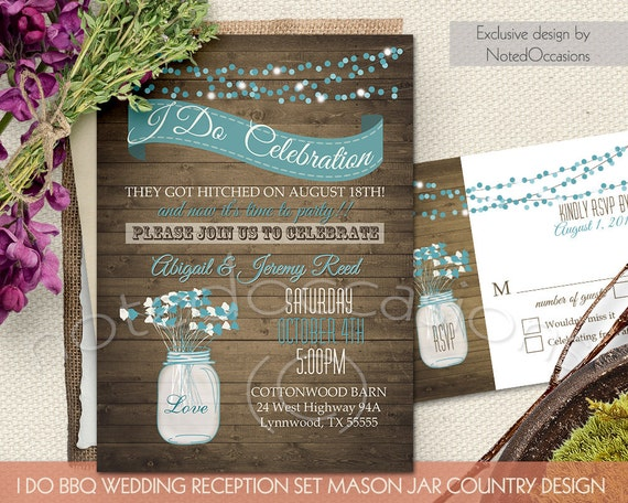 I Do BBQ Western Wedding Invitation And RSVP Note Card