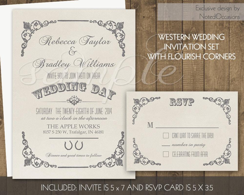 Western Wedding Invites: Western Wedding Invitation Set Printable Country By