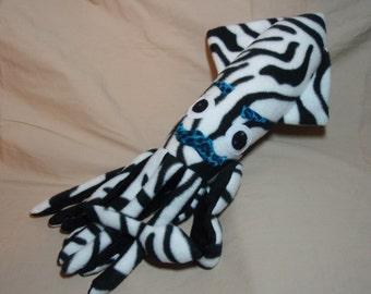 Vinny the Mustached Zebra Print Fleece Squid Plushie Stuffed Animal Ocean Marine Sea Creature