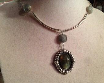 Gray Necklace - Labradorite Gemstone Jewellery - Sterling Silver Jewelry - Unique - Pendant - Fashion