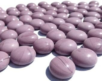 Purple Mini Glass Gems Mosaic Tiles - 50 - Flat Back Marbles - Opaque Lilac