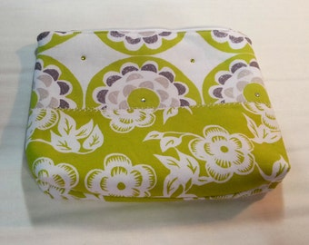 Modern Zip Top Cosmetic Case Pouch with Bling - Larger Size