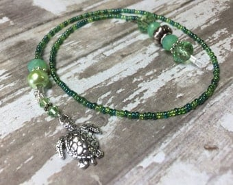 Beaded Turtle Bookmark,  Green Book Thong, Gift for Readers, Book Jewelry, Book Marker