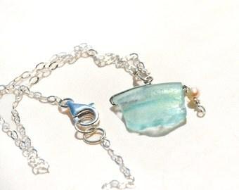 Roman Glass Necklace. Roman Glass Silver Necklace. Pendant Glass Necklace. Aquamarine Pendant. Roman Glass Jewelry. Silver Jewelry