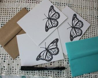 Monarch Butterfly Black & WhiteFlat Note Card Set - Handstamped Set of Six - from original handcarved stamps