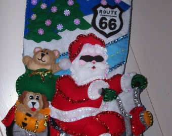 For Christmas 2015  Finished Design Works Felted Christmas Stocking Santa 'Route 66' Personalized: Ready To Shipped