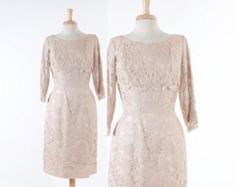 60s LILLI DIAMOND Lace DRESS / 1960s Creamy Ivory Scalloped Wiggle Party Dress M