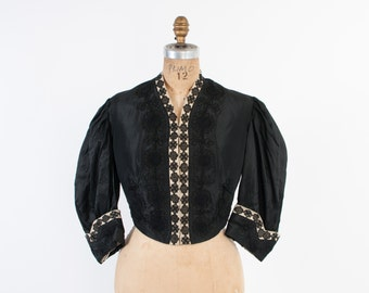 Victorian Silk JACKET / Vintage Early 1900s Black & Ivory Embroidered Soutache Cropped Bodice