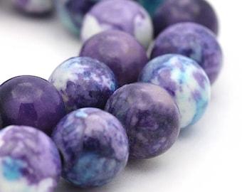 15 Jade Beads 8mm Ocean Jade Dyed Purples and Violets Gemstone Beads - BD888