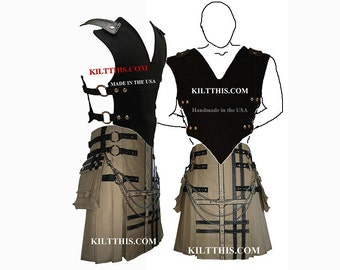 Interchangeable Black 10oz Canvas Vest with Khaki 10oz Canvas Utility Kilt Black Gear Design Set Adjustable Custom Fit with Cargo Pockets
