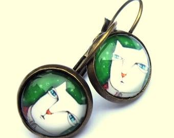 Cat Cartoon Earrings Glass Boho Fashion Jewelry