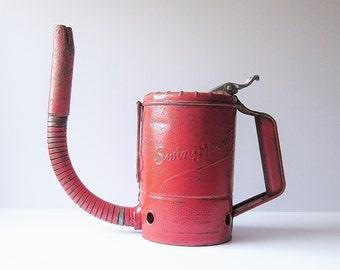 Swingspout Quart Size Metal Oil Can - Vintage Automobile Nostalgia - Mid Century Automobilia - Original Red Paint - New York City Approved