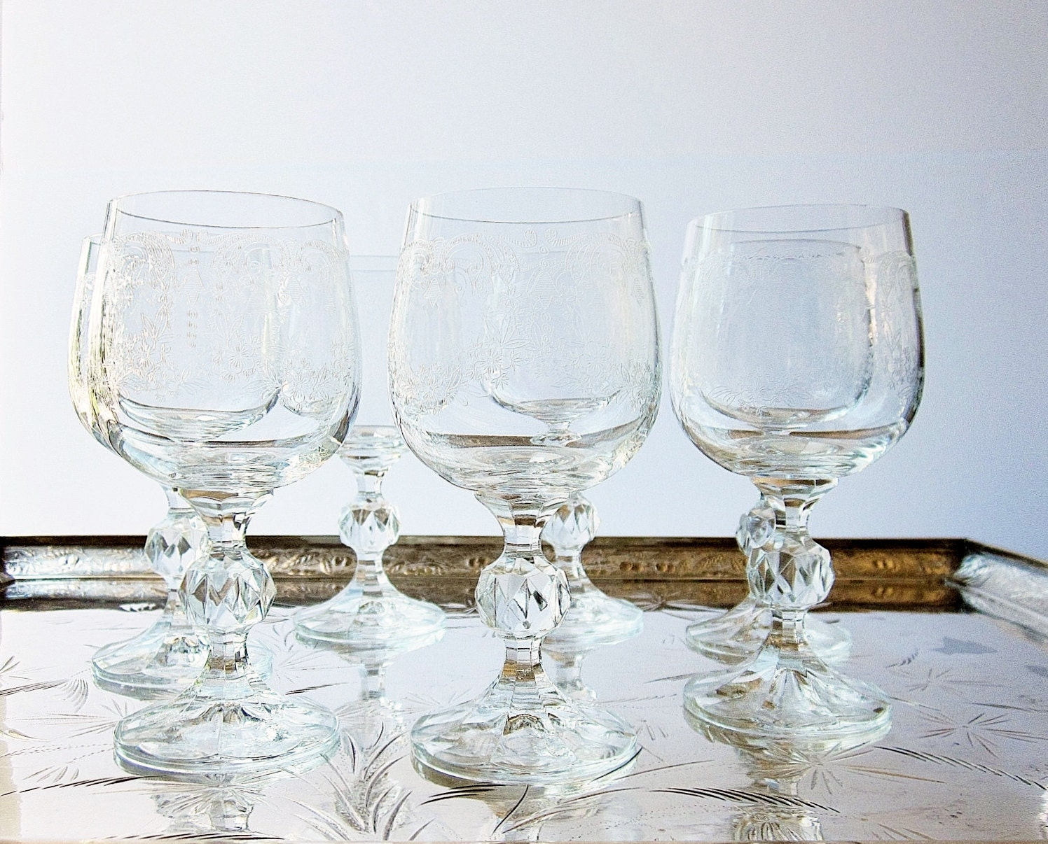 Vintage Bohemia Crystal Wine Glasses Made In Czechoslovakia