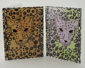 Leopard Cards - Two Card Set - Blank Inside - Monkey Brains Design
