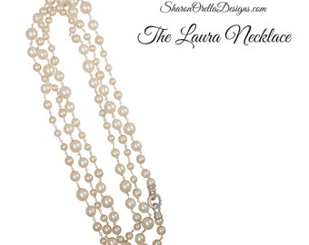 The Laura Crystal Pearl Necklace - Long Length -Cream with silver tones, Rhinestone clasp Wedding, bride, Opera