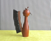 Mid Century Modern Danish Teak Brush in the Shape of  Cat
