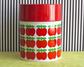 Vintage Tin Canister with Apples Pattern - reserved for evi