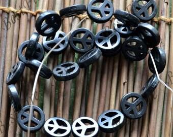 15inch 15mm Single Dyed black peace symbol turquoise gemstone beads,Turquoise nugget jewelry, Gemstone Bead loose beads,turquoise beads