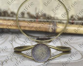 2pcs of Antique Brass Adjustable bracelet Base,round blank pad fit cabochon size 20mm,bangle findings,bracelet findings