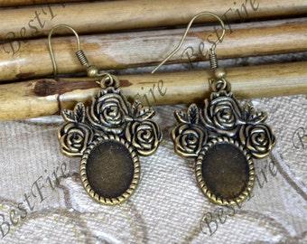 2pairs Antiqued brass Flower Earwires Hook With oval Cabochon Pad, Earrings hook,earrings finding base,earring base findings