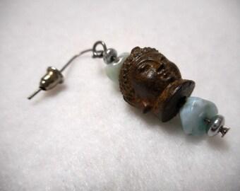 Men's Earring, Buddha Earring, Larimar Earring, Men's Jewelry, Yoga Jewelry