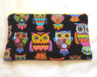 Funky Peace Owls Fabric Zipper Pouch / Pencil Case / Make Up Bag / Gadget Sack